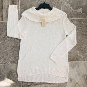Michael Kors Bone Cowl-Neck Hi-Lo Hem Sweater